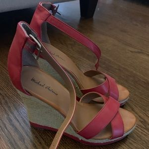 Cherry red wedge sandal- size 8.5